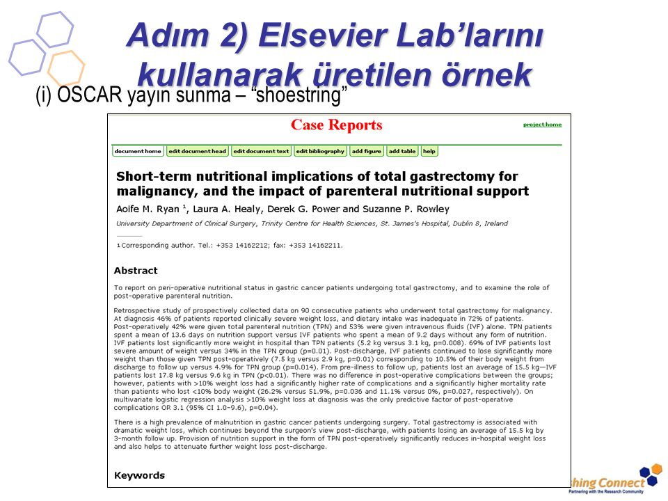 Adım 2) Elsevier Lab'larını kullanarak üretilen örnek (i) OSCAR yayın sunma – shoestring