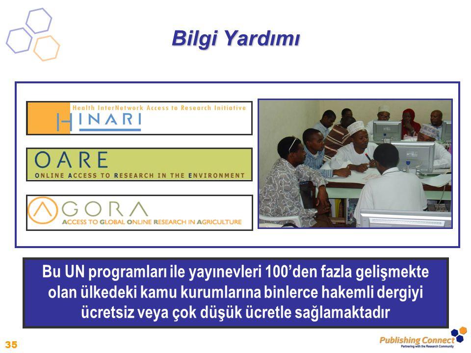 35 Bilgi Yardımı Bu UN programları ile yayınevleri 100'den fazla gelişmekte olan ülkedeki kamu kurumlarına binlerce hakemli dergiyi ücretsiz veya çok düşük ücretle sağlamaktadır
