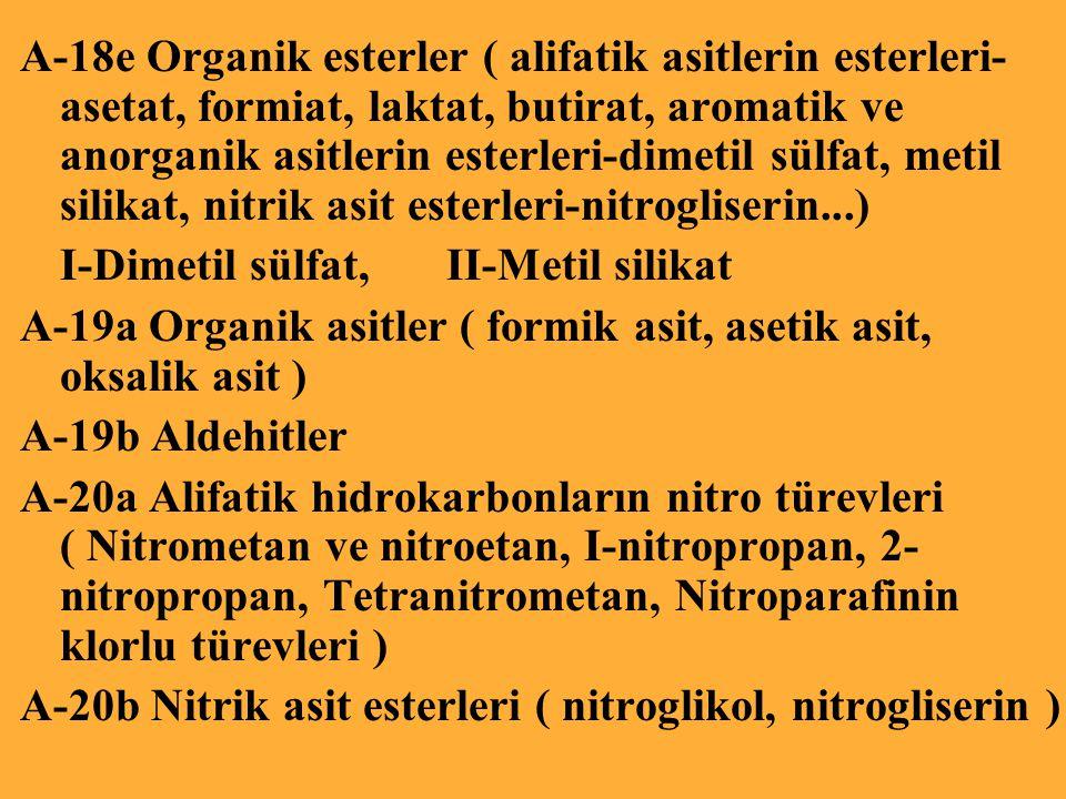 A-18e Organik esterler ( alifatik asitlerin esterleri- asetat, formiat, laktat, butirat, aromatik ve anorganik asitlerin esterleri-dimetil sülfat, metil silikat, nitrik asit esterleri-nitrogliserin...) I-Dimetil sülfat, II-Metil silikat A-19a Organik asitler ( formik asit, asetik asit, oksalik asit ) A-19b Aldehitler A-20a Alifatik hidrokarbonların nitro türevleri ( Nitrometan ve nitroetan, I-nitropropan, 2- nitropropan, Tetranitrometan, Nitroparafinin klorlu türevleri ) A-20b Nitrik asit esterleri ( nitroglikol, nitrogliserin )