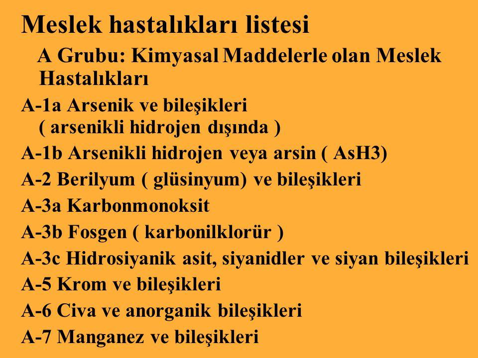 Türkiye'deki meslek hastalıklarının % 86 sı sırasıyla kömür madenciliği, nakil aracı imalatı, makine imalatı ve tamiratı, ecza ve kimyevi maddeler imalatı, elektrik makineleri ve imalatı iş kollarında oluşmaktadır.