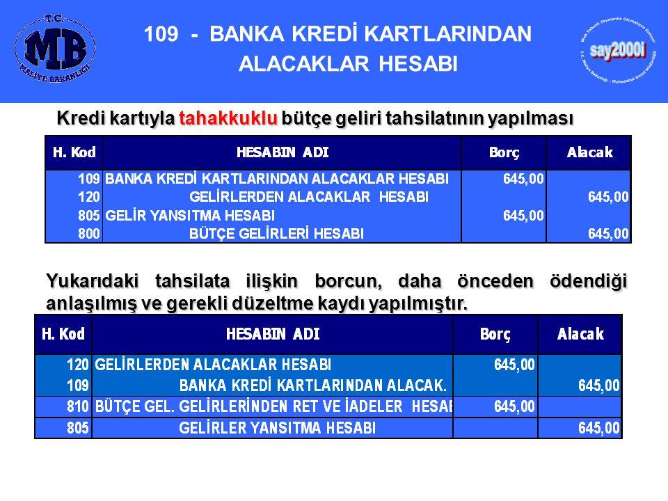 109 - BANKA KREDİ KARTLARINDAN ALACAKLAR HESABI Kredi kartıyla tahakkuklu bütçe geliri tahsilatının yapılması Yukarıdaki tahsilata ilişkin borcun, dah