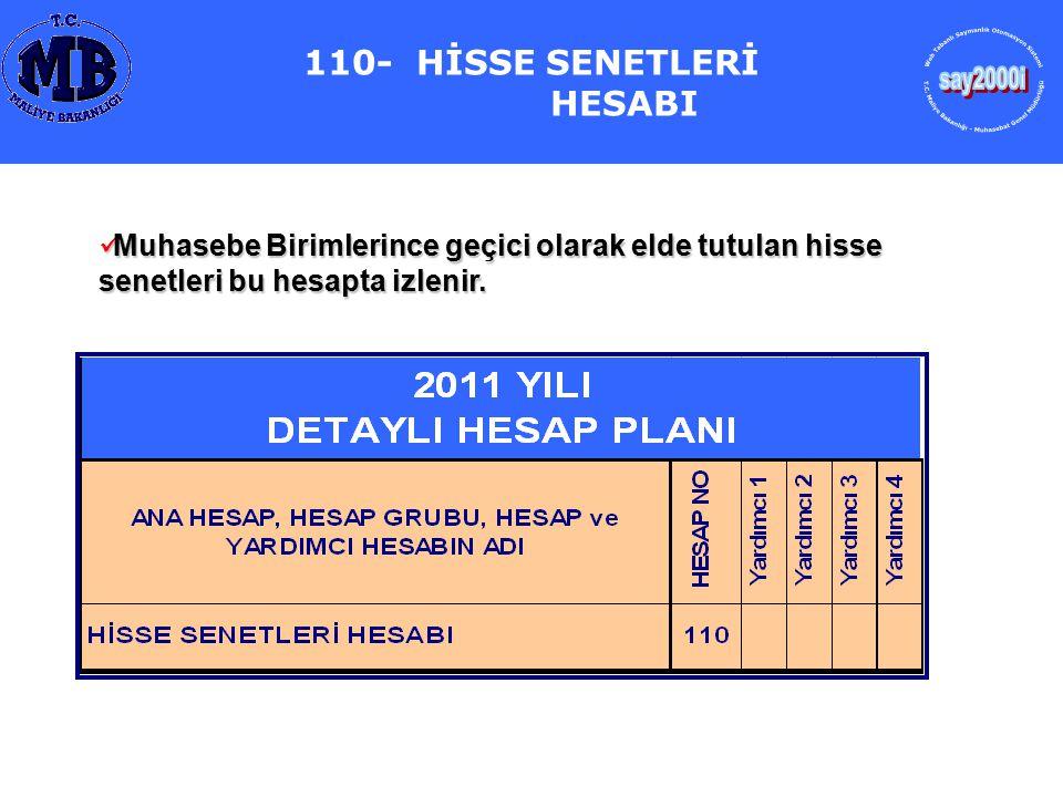 110- HİSSE SENETLERİ HESABI Muhasebe Birimlerince geçici olarak elde tutulan hisse senetleri bu hesapta izlenir. Muhasebe Birimlerince geçici olarak e