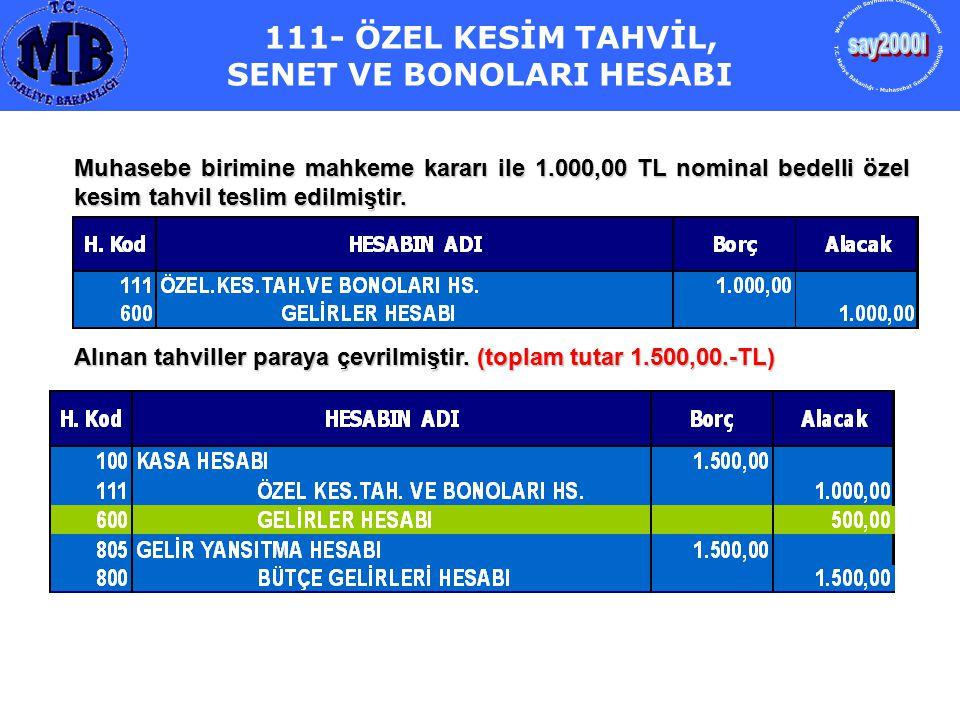 111- ÖZEL KESİM TAHVİL, SENET VE BONOLARI HESABI Muhasebe birimine mahkeme kararı ile 1.000,00 TL nominal bedelli özel kesim tahvil teslim edilmiştir.