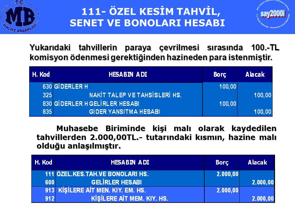 111- ÖZEL KESİM TAHVİL, SENET VE BONOLARI HESABI Yukarıdaki tahvillerin paraya çevrilmesi sırasında 100.-TL komisyon ödenmesi gerektiğinden hazineden
