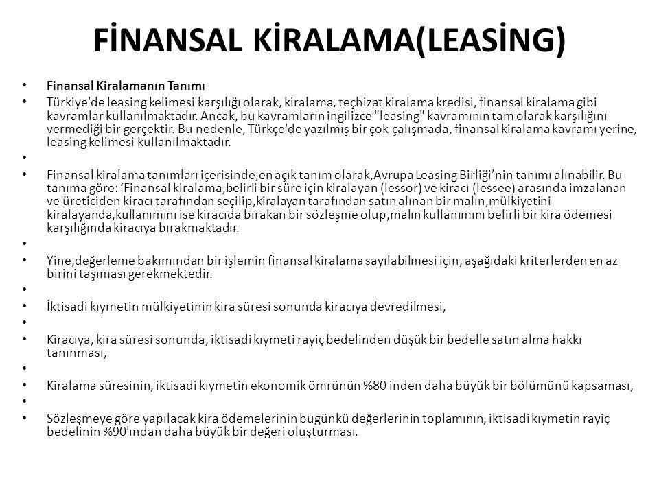 FİNANSAL KİRALAMA(LEASİNG) Finansal Kiralamanın Tanımı Türkiye'de leasing kelimesi karşılığı olarak, kiralama, teçhizat kiralama kredisi, finansal kir