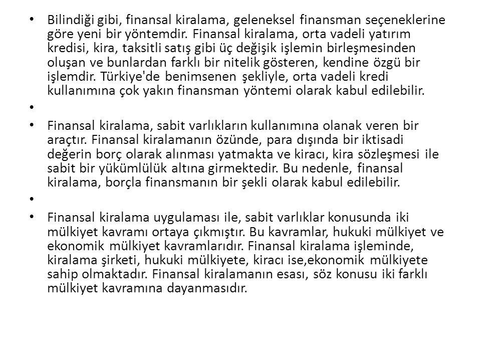 Bilindiği gibi, finansal kiralama, geleneksel finansman seçeneklerine göre yeni bir yöntemdir. Finansal kiralama, orta vadeli yatırım kredisi, kira, t