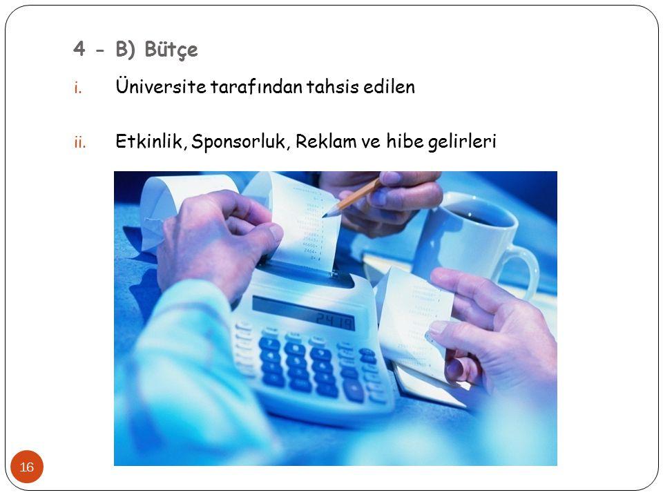 4 - B) Bütçe i. Üniversite tarafından tahsis edilen ii. Etkinlik, Sponsorluk, Reklam ve hibe gelirleri 16