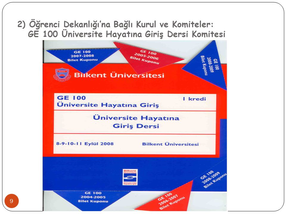 2) Öğrenci Dekanlığı'na Bağlı Kurul ve Komiteler: GE 100 Üniversite Hayatına Giriş Dersi Komitesi 9