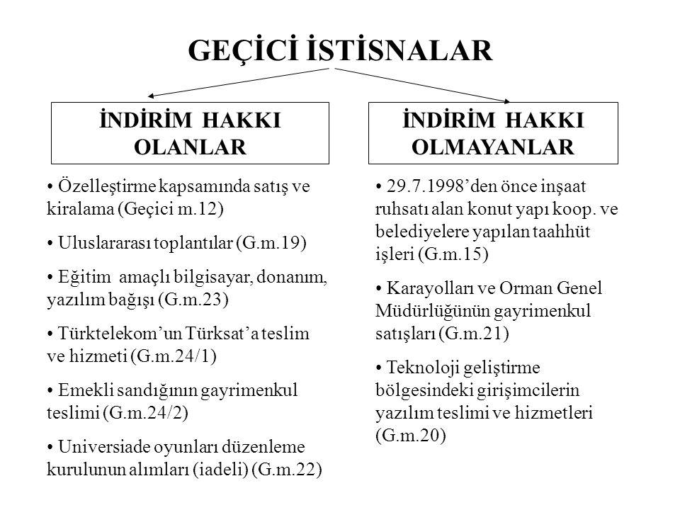 GEÇİCİ İSTİSNALAR İNDİRİM HAKKI OLANLAR İNDİRİM HAKKI OLMAYANLAR Özelleştirme kapsamında satış ve kiralama (Geçici m.12) Uluslararası toplantılar (G.m.19) Eğitim amaçlı bilgisayar, donanım, yazılım bağışı (G.m.23) Türktelekom'un Türksat'a teslim ve hizmeti (G.m.24/1) Emekli sandığının gayrimenkul teslimi (G.m.24/2) Universiade oyunları düzenleme kurulunun alımları (iadeli) (G.m.22) 29.7.1998'den önce inşaat ruhsatı alan konut yapı koop.