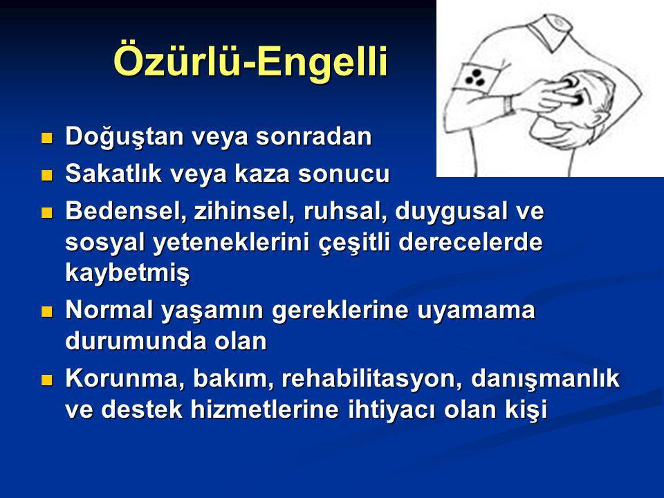 Özürlünün çalışma hakkı 50 ve üzerinde işçi çalıştıran iş yerleri 50 ve üzerinde işçi çalıştıran iş yerleri Türkiye İş Kurumu aracılığı ile Türkiye İş Kurumu aracılığı ile Özür oranı % 40 ve üzerinde olan özürlüleri çalıştırmak zorunda Özür oranı % 40 ve üzerinde olan özürlüleri çalıştırmak zorunda Özürlü sayısı = Yükümlü + Terör mağduru ( En az oran 1 / 2 ) Özürlü sayısı = Yükümlü + Terör mağduru ( En az oran 1 / 2 )