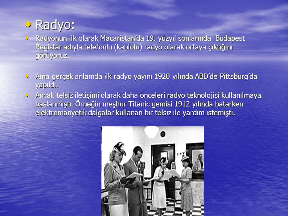 www.ogretmenweb.com Radyo: Radyo: Radyonun ilk olarak Macaristan'da 19. yüzyıl sonlarında Budapest Registar adıyla telefonlu (kablolu) radyo olarak or