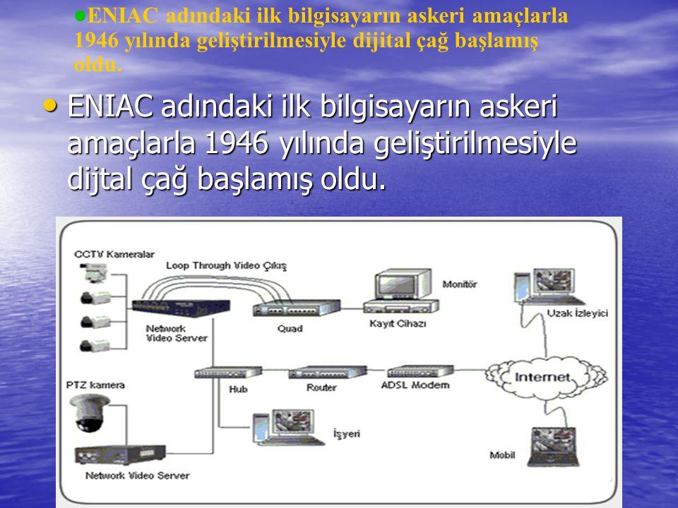 ENIAC adındaki ilk bilgisayarın askeri amaçlarla 1946 yılında geliştirilmesiyle dijtal çağ başlamış oldu. ENIAC adındaki ilk bilgisayarın askeri amaçl