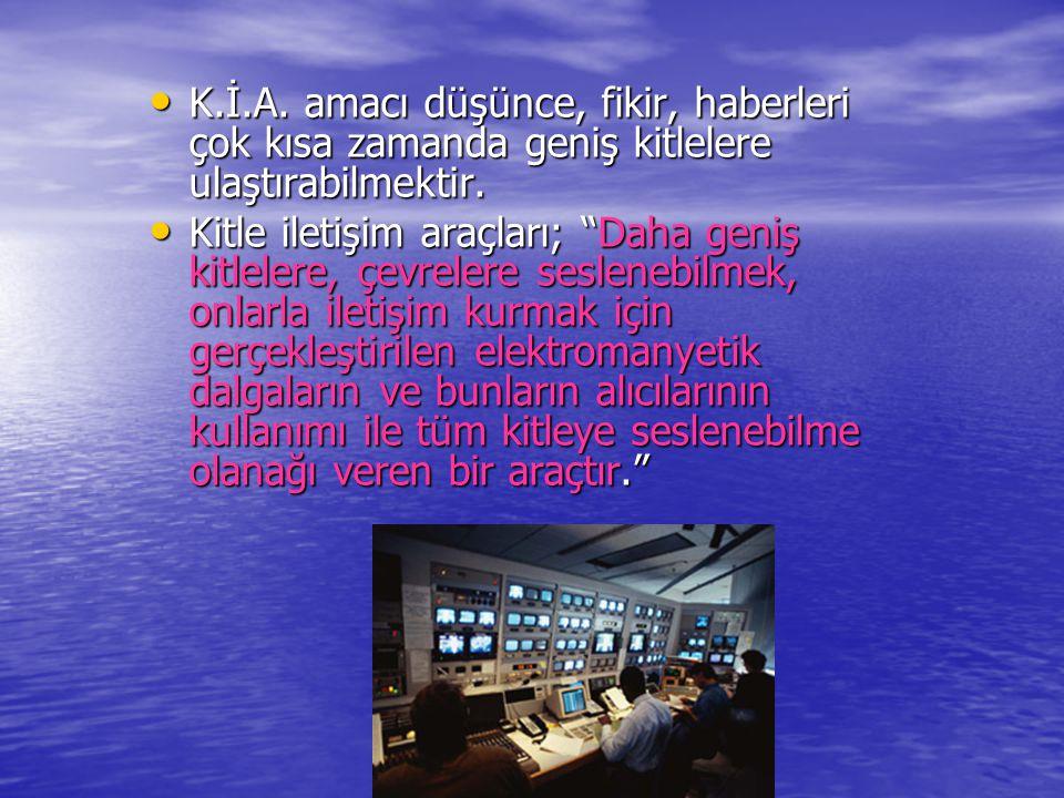 www.ogretmenweb.com K.İ.A. amacı düşünce, fikir, haberleri çok kısa zamanda geniş kitlelere ulaştırabilmektir. K.İ.A. amacı düşünce, fikir, haberleri