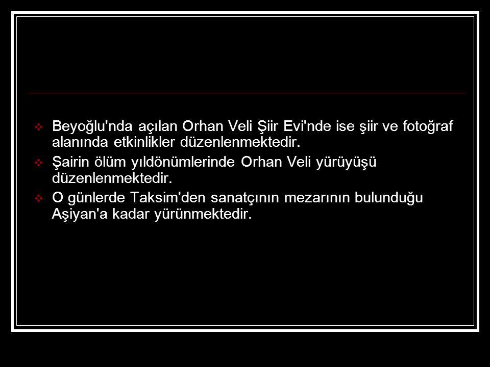  Beyoğlu'nda açılan Orhan Veli Şiir Evi'nde ise şiir ve fotoğraf alanında etkinlikler düzenlenmektedir.  Şairin ölüm yıldönümlerinde Orhan Veli yürü