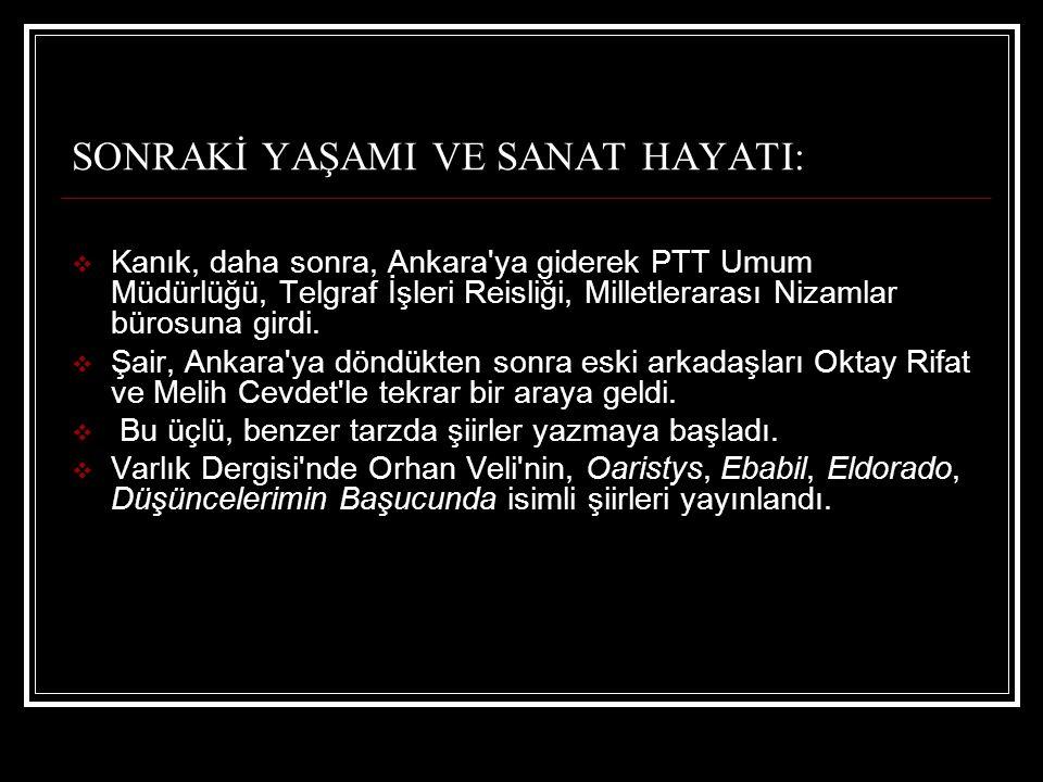 SONRAKİ YAŞAMI VE SANAT HAYATI:  Kanık, daha sonra, Ankara'ya giderek PTT Umum Müdürlüğü, Telgraf İşleri Reisliği, Milletlerarası Nizamlar bürosuna g