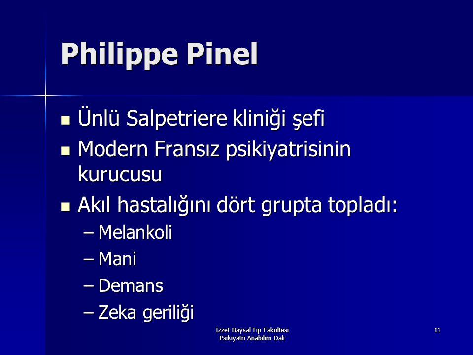 İzzet Baysal Tıp Fakültesi Psikiyatri Anabilim Dalı 11 Philippe Pinel Ünlü Salpetriere kliniği şefi Ünlü Salpetriere kliniği şefi Modern Fransız psiki