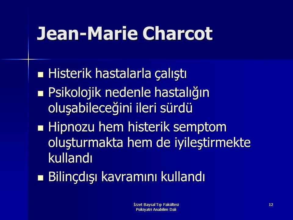 İzzet Baysal Tıp Fakültesi Psikiyatri Anabilim Dalı 12 Jean-Marie Charcot Histerik hastalarla çalıştı Histerik hastalarla çalıştı Psikolojik nedenle h