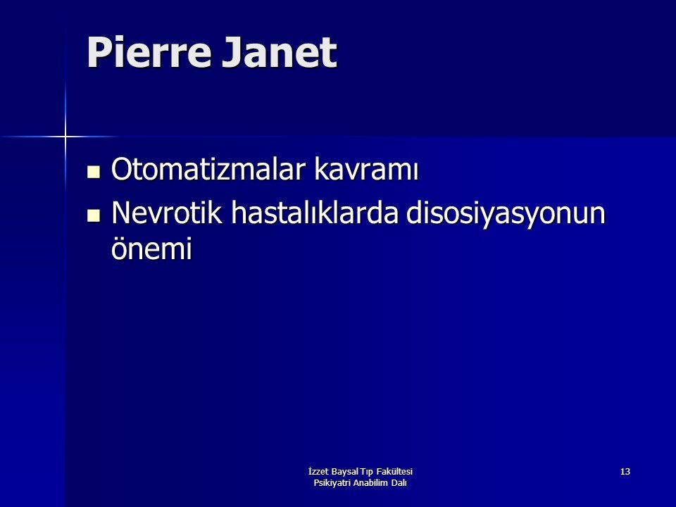 İzzet Baysal Tıp Fakültesi Psikiyatri Anabilim Dalı 13 Pierre Janet Otomatizmalar kavramı Otomatizmalar kavramı Nevrotik hastalıklarda disosiyasyonun