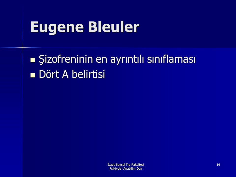 İzzet Baysal Tıp Fakültesi Psikiyatri Anabilim Dalı 14 Eugene Bleuler Şizofreninin en ayrıntılı sınıflaması Şizofreninin en ayrıntılı sınıflaması Dört