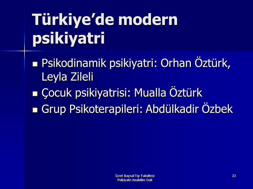İzzet Baysal Tıp Fakültesi Psikiyatri Anabilim Dalı 22 Türkiye'de modern psikiyatri Psikodinamik psikiyatri: Orhan Öztürk, Leyla Zileli Psikodinamik p