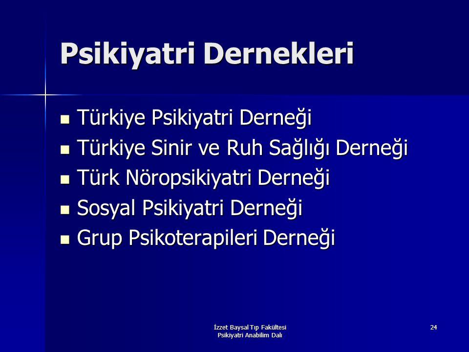 İzzet Baysal Tıp Fakültesi Psikiyatri Anabilim Dalı 24 Psikiyatri Dernekleri Türkiye Psikiyatri Derneği Türkiye Psikiyatri Derneği Türkiye Sinir ve Ru