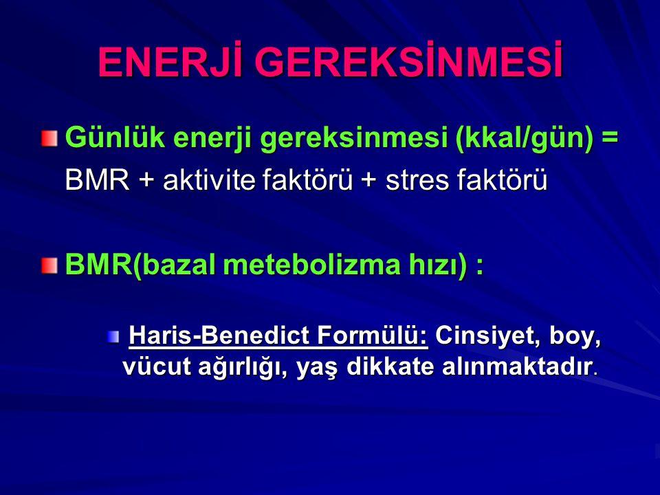 ENERJİ GEREKSİNMESİ Günlük enerji gereksinmesi (kkal/gün) = BMR + aktivite faktörü + stres faktörü BMR(bazal metebolizma hızı) : Haris-Benedict Formülü: Cinsiyet, boy, vücut ağırlığı, yaş dikkate alınmaktadır.
