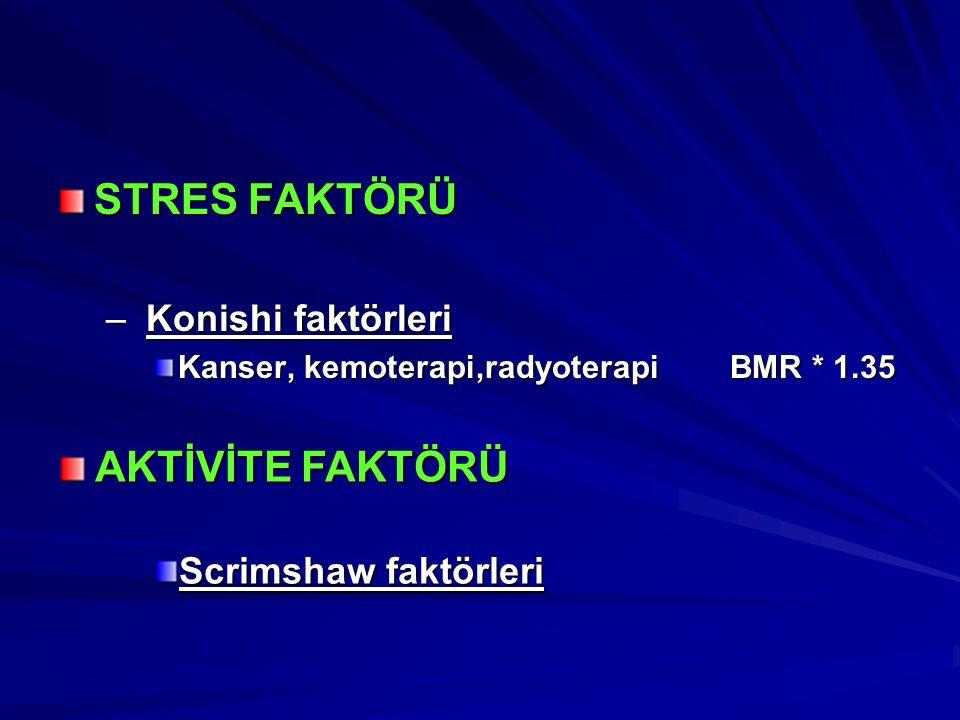 STRES FAKTÖRÜ – Konishi faktörleri Kanser, kemoterapi,radyoterapiBMR * 1.35 AKTİVİTE FAKTÖRÜ Scrimshaw faktörleri