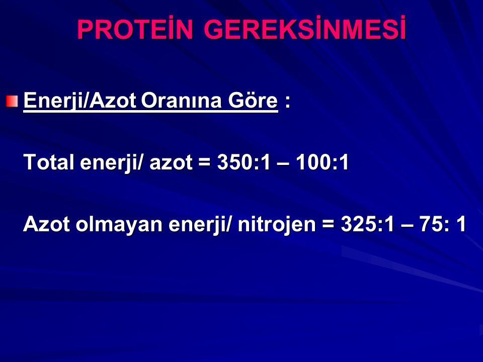 PROTEİN GEREKSİNMESİ Enerji/Azot Oranına Göre : Total enerji/ azot = 350:1 – 100:1 Azot olmayan enerji/ nitrojen = 325:1 – 75: 1