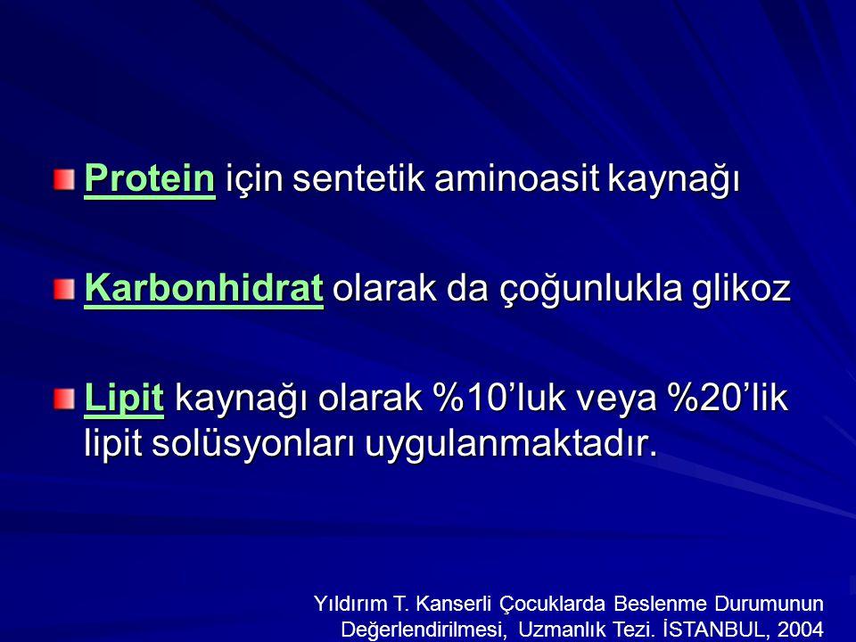 Protein için sentetik aminoasit kaynağı Karbonhidrat olarak da çoğunlukla glikoz Lipit kaynağı olarak %10'luk veya %20'lik lipit solüsyonları uygulanm
