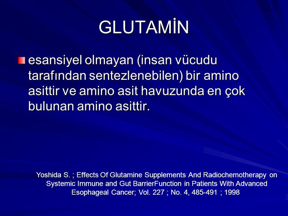 GLUTAMİN esansiyel olmayan (insan vücudu tarafından sentezlenebilen) bir amino asittir ve amino asit havuzunda en çok bulunan amino asittir. Yoshida S