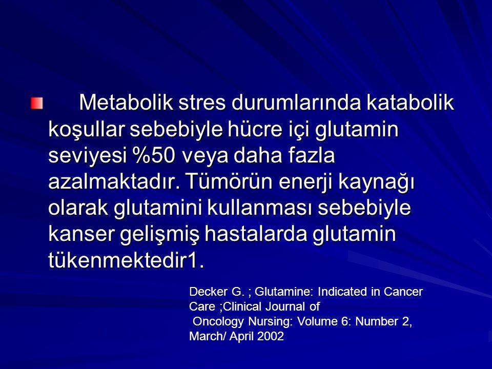 Metabolik stres durumlarında katabolik koşullar sebebiyle hücre içi glutamin seviyesi %50 veya daha fazla azalmaktadır. Tümörün enerji kaynağı olarak