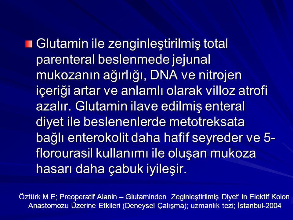 Glutamin ile zenginleştirilmiş total parenteral beslenmede jejunal mukozanın ağırlığı, DNA ve nitrojen içeriği artar ve anlamlı olarak villoz atrofi azalır.