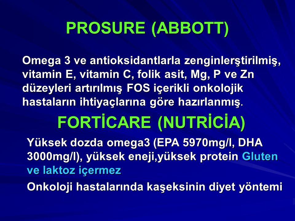 Omega 3 ve antioksidantlarla zenginlerştirilmiş, vitamin E, vitamin C, folik asit, Mg, P ve Zn düzeyleri artırılmış FOS içerikli onkolojik hastaların