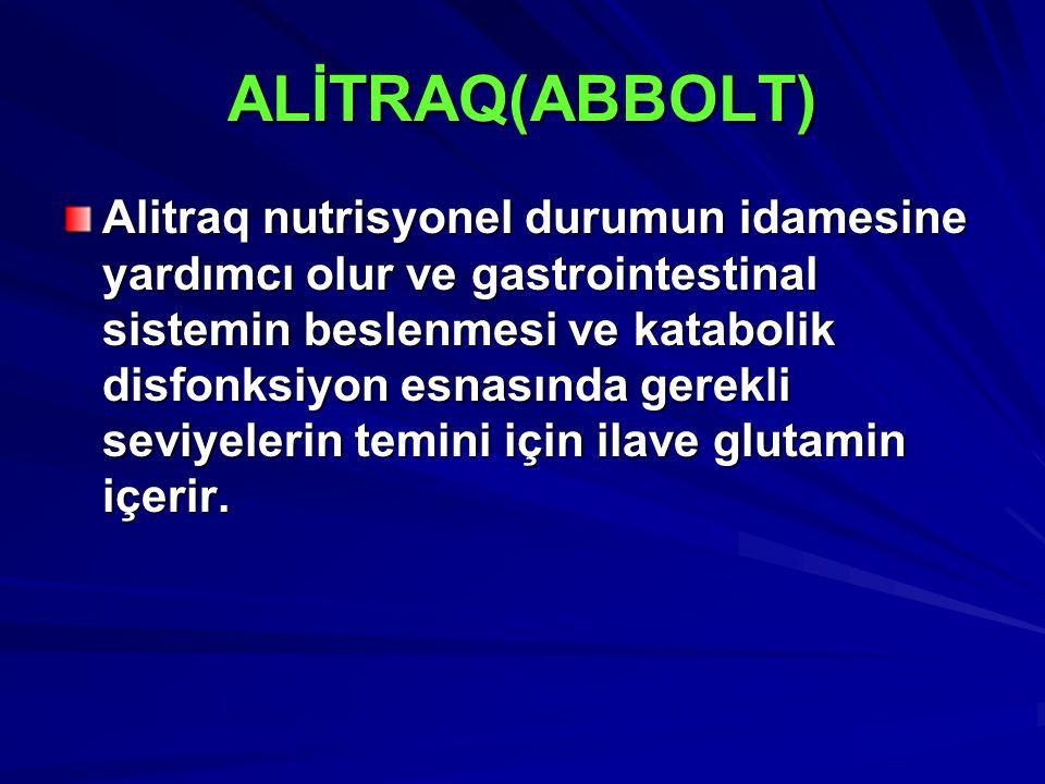 ALİTRAQ(ABBOLT) Alitraq nutrisyonel durumun idamesine yardımcı olur ve gastrointestinal sistemin beslenmesi ve katabolik disfonksiyon esnasında gerekli seviyelerin temini için ilave glutamin içerir.