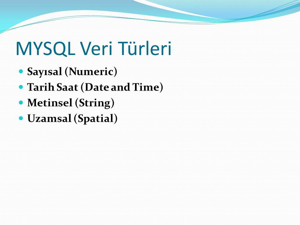 MYSQL Veri Türleri Sayısal (Numeric) Tarih Saat (Date and Time) Metinsel (String) Uzamsal (Spatial)