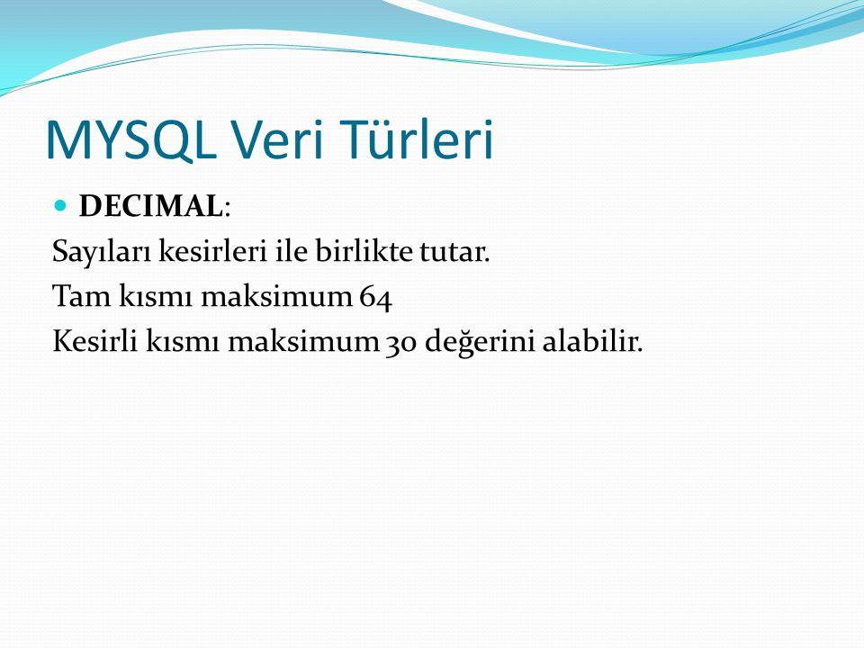 MYSQL Veri Türleri DECIMAL: Sayıları kesirleri ile birlikte tutar. Tam kısmı maksimum 64 Kesirli kısmı maksimum 30 değerini alabilir.