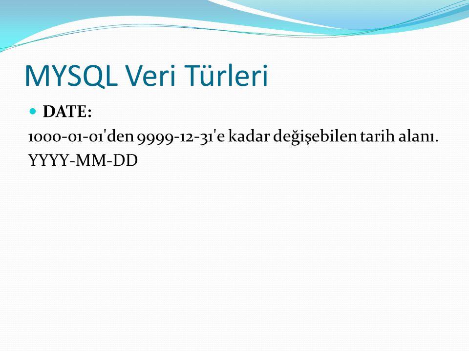 MYSQL Veri Türleri DATE: 1000-01-01'den 9999-12-31'e kadar değişebilen tarih alanı. YYYY-MM-DD