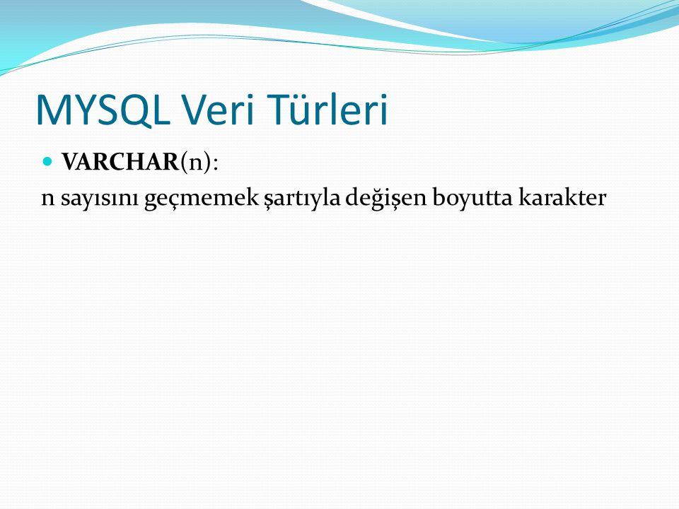 MYSQL Veri Türleri VARCHAR(n): n sayısını geçmemek şartıyla değişen boyutta karakter