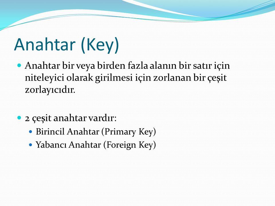 Anahtar (Key) Anahtar bir veya birden fazla alanın bir satır için niteleyici olarak girilmesi için zorlanan bir çeşit zorlayıcıdır. 2 çeşit anahtar va