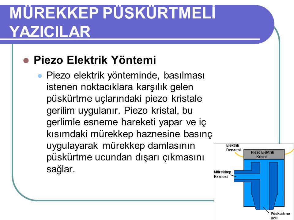MÜREKKEP PÜSKÜRTMELİ YAZICILAR Piezo Elektrik Yöntemi Piezo elektrik yönteminde, basılması istenen noktacıklara karşılık gelen püskürtme uçlarındaki p