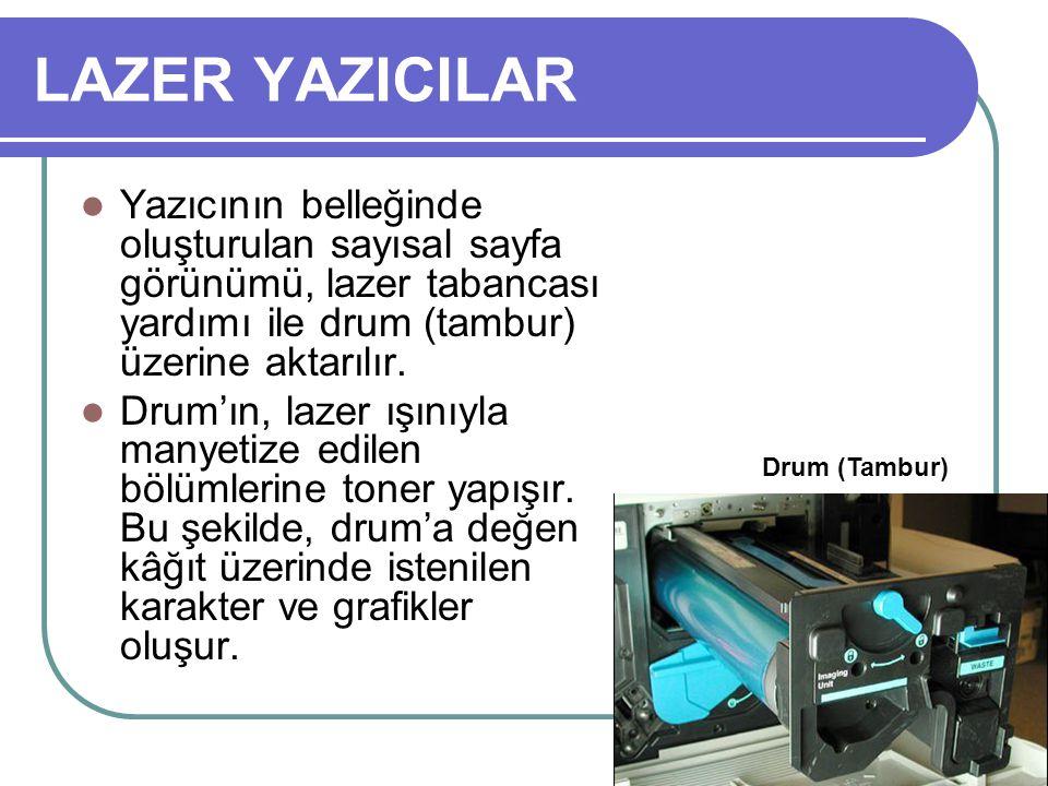 LAZER YAZICILAR Yazıcının belleğinde oluşturulan sayısal sayfa görünümü, lazer tabancası yardımı ile drum (tambur) üzerine aktarılır. Drum'ın, lazer ı