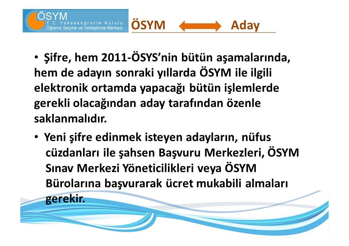 ÖSYMAday Şifre, hem 2011-ÖSYS'nin bütün aşamalarında, hem de adayın sonraki yıllarda ÖSYM ile ilgili elektronik ortamda yapacağı bütün işlemlerde gere
