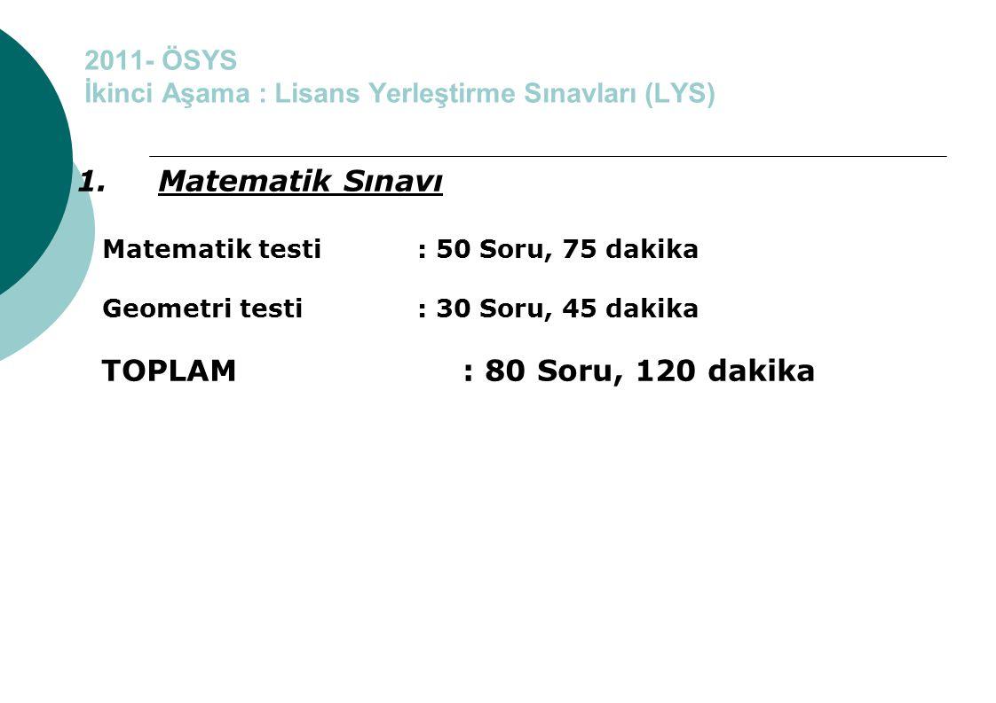 2011- ÖSYS İkinci Aşama : Lisans Yerleştirme Sınavları (LYS) 1. Matematik Sınavı Matematik testi : 50 Soru, 75 dakika Geometri testi : 30 Soru, 45 dak