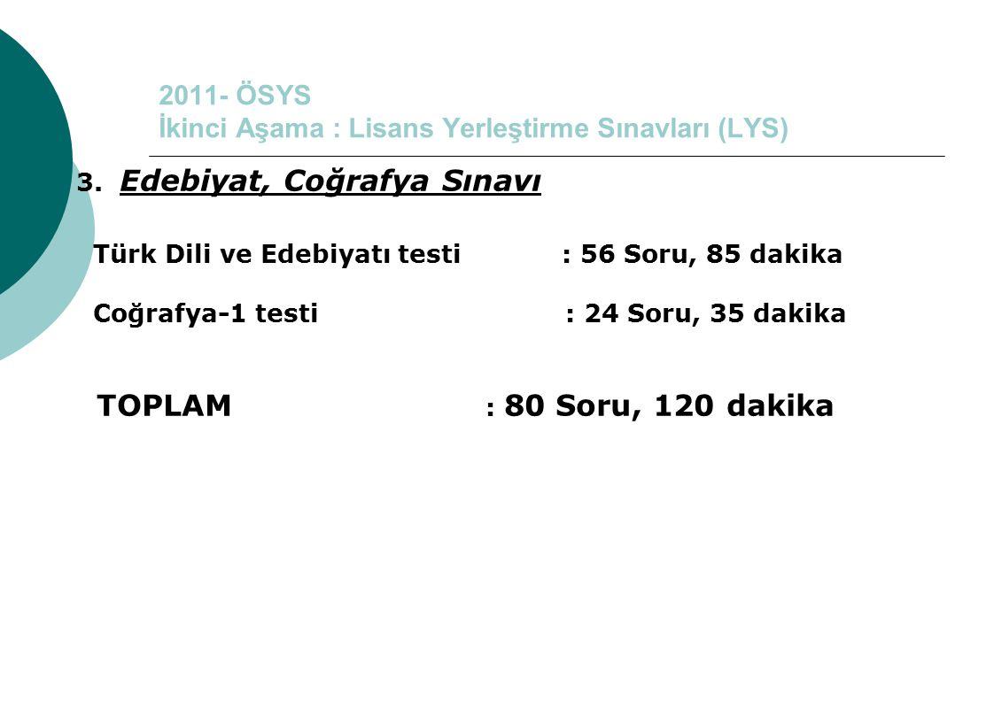 2011- ÖSYS İkinci Aşama : Lisans Yerleştirme Sınavları (LYS) 3. Edebiyat, Coğrafya Sınavı Türk Dili ve Edebiyatı testi : 56 Soru, 85 dakika Coğrafya-1