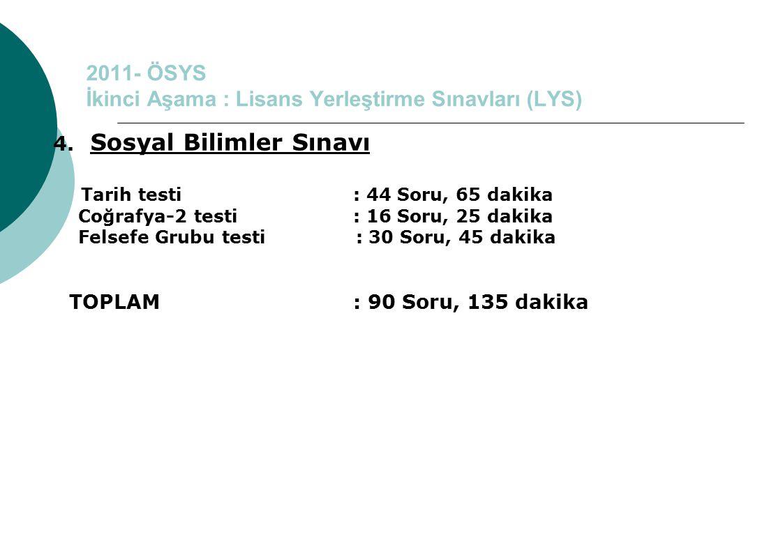 2011- ÖSYS İkinci Aşama : Lisans Yerleştirme Sınavları (LYS) 4. Sosyal Bilimler Sınavı Tarih testi : 44 Soru, 65 dakika Coğrafya-2 testi : 16 Soru, 25
