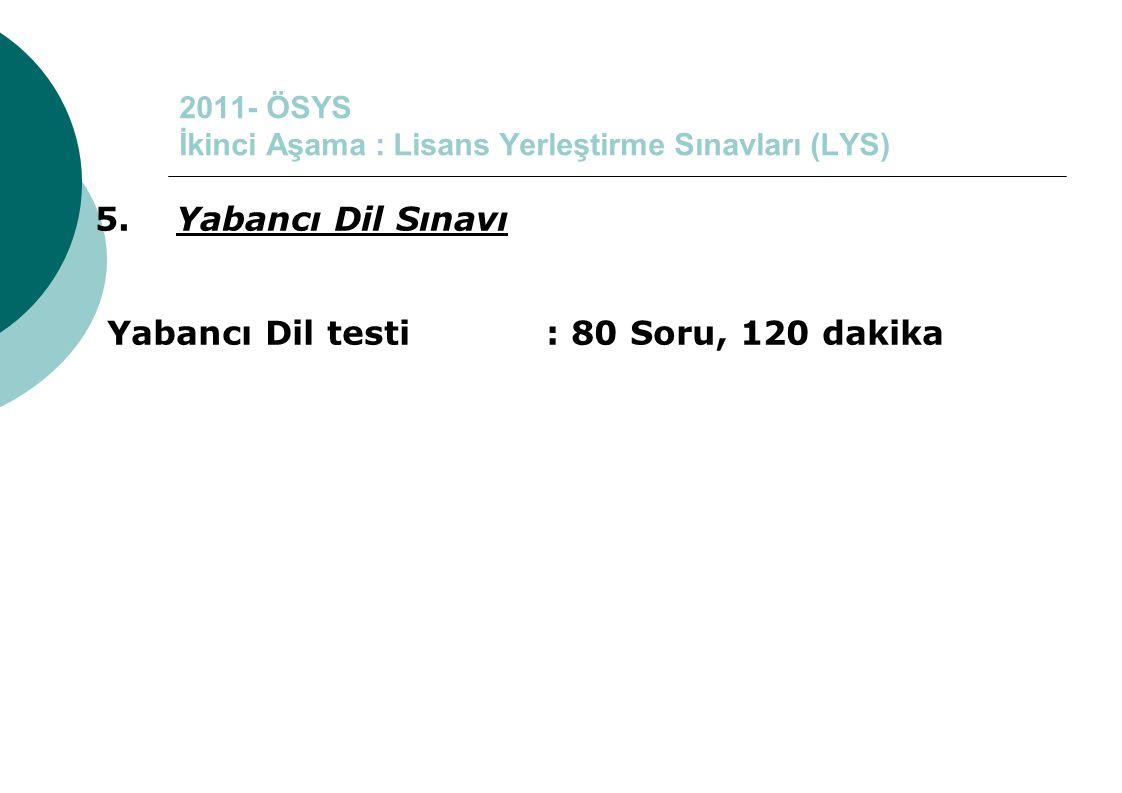 2011- ÖSYS İkinci Aşama : Lisans Yerleştirme Sınavları (LYS) 5. Yabancı Dil Sınavı Yabancı Dil testi : 80 Soru, 120 dakika