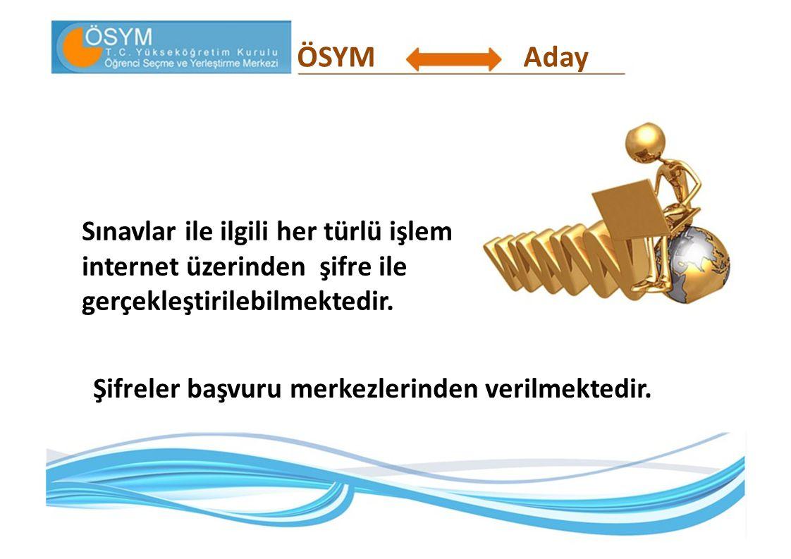 ÖSYMAday Şifre, hem 2011-ÖSYS'nin bütün aşamalarında, hem de adayın sonraki yıllarda ÖSYM ile ilgili elektronik ortamda yapacağı bütün işlemlerde gerekli olacağından aday tarafından özenle saklanmalıdır.
