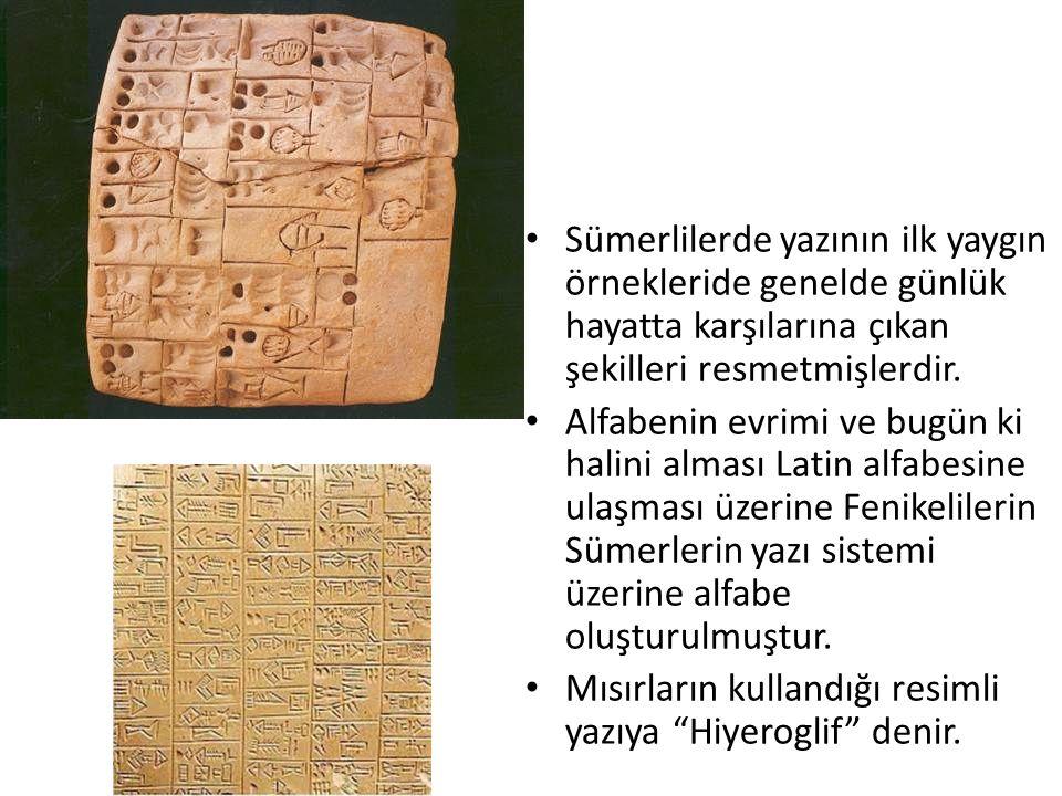 Sümerlilerde yazının ilk yaygın örnekleride genelde günlük hayatta karşılarına çıkan şekilleri resmetmişlerdir. Alfabenin evrimi ve bugün ki halini al