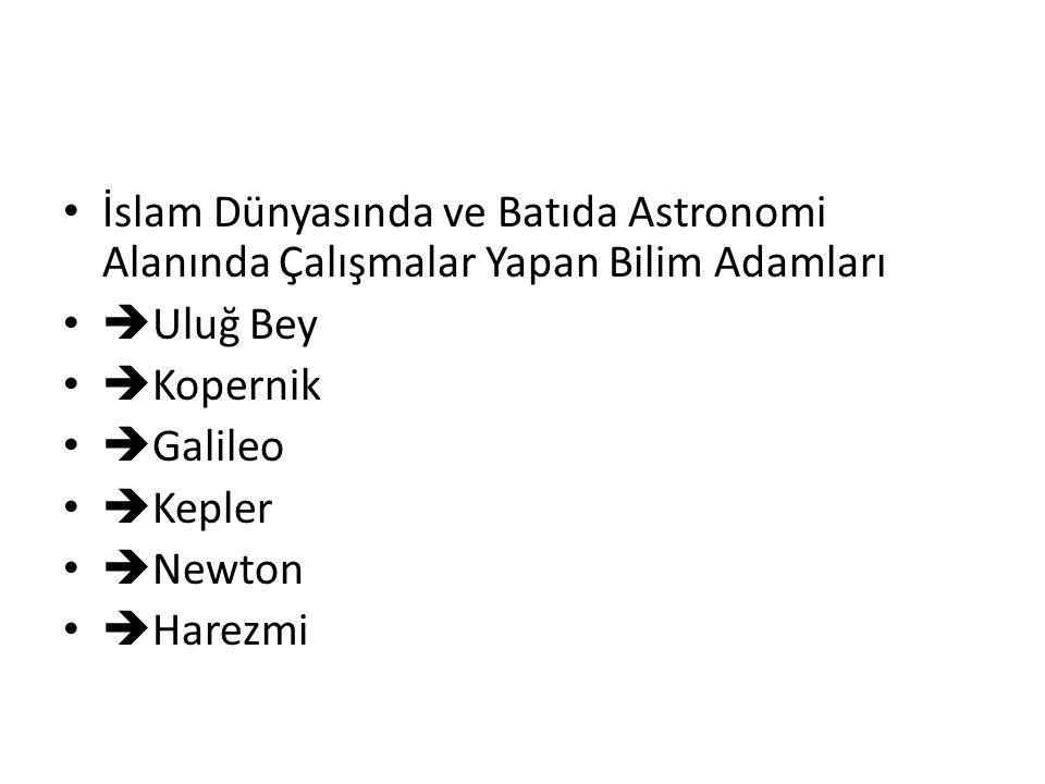 İslam Dünyasında ve Batıda Astronomi Alanında Çalışmalar Yapan Bilim Adamları  Uluğ Bey  Kopernik  Galileo  Kepler  Newton  Harezmi