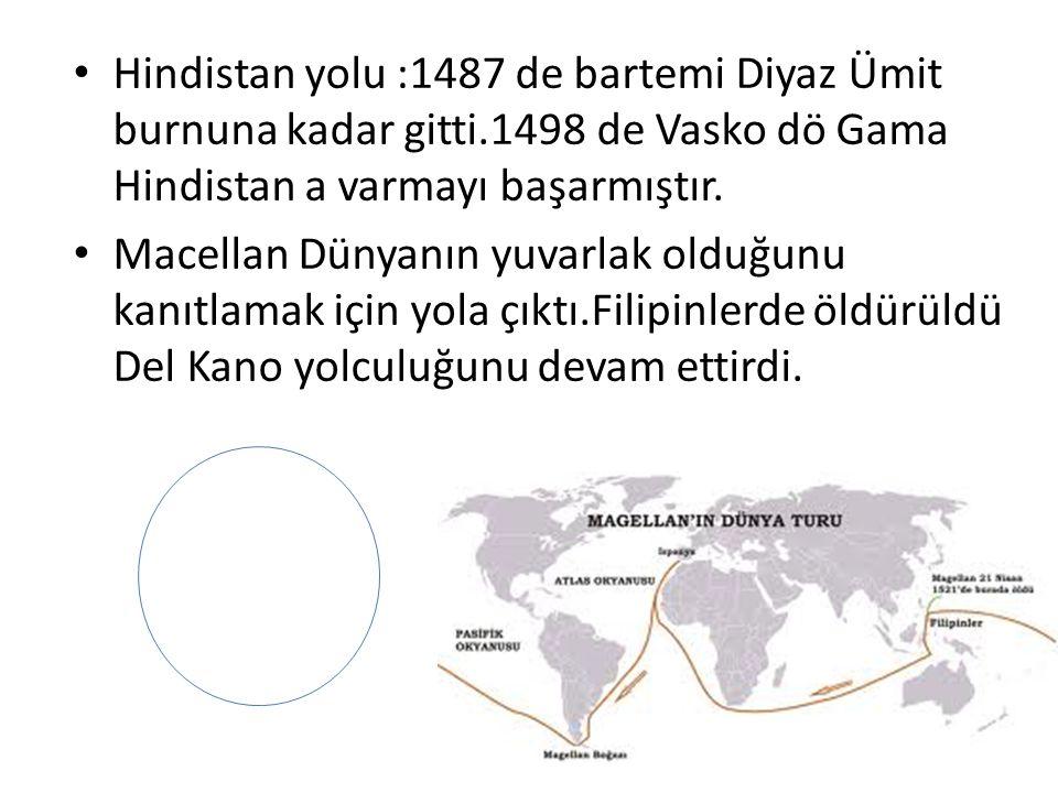 Hindistan yolu :1487 de bartemi Diyaz Ümit burnuna kadar gitti.1498 de Vasko dö Gama Hindistan a varmayı başarmıştır. Macellan Dünyanın yuvarlak olduğ